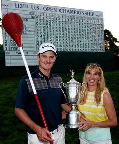 Justin Rose celebrates his U.S. Open title with wife, Kate.  Golf in Phuket www.phuketgolfleisure.com