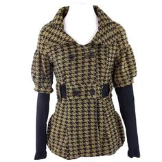 "Mustard Yellow Black Houndstooth Stretch Jacket Houndstooth Jacket  Size Medium  Retail $180 ‼️ PRICE FIRM UNLESS BUNDLED WITH OTHER ITEMS FROM MY CLOSET ‼️ Wow what a fabulous jacket.  Heavier weight fabric. Mustard yellow & black houndstooth.  Lots and lots of stretch for a perfect & comfortable fit.  Fitted sleeves.  I love this jacket!!!  95% polyester, 5% spandex.  All measurements are taken with garment laying flat and not stretched at all.  Armpit to armpit 38""  Shoulder to shoulder…"