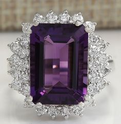 ESTATE 7.75CTW NATURAL AMETHYST AND DIAMOND RING IN 14K SOLID WHITE GOLD #Cocktail