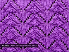 Lace knitting stitch of the Month - July 2016. #40 Pine Trees.