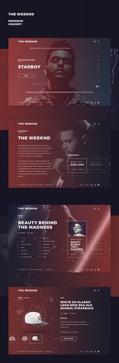 The Weeknd Redesign Concept.Photos and text were taken from an official website.