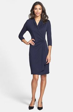 Karen Kane Three-Quarter Sleeve Cascade Faux Wrap Dress (Regular & Petite) available at #Nordstrom