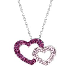 Double Heart Pendant With Pink & Purple Swarovski Crystals. Get ready for Valentine's Day! More than 25% OFF Heart Collection.