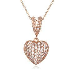 """Rose Gold White CZ Heart Pendant -18"""" CHELINE. $79.00"""