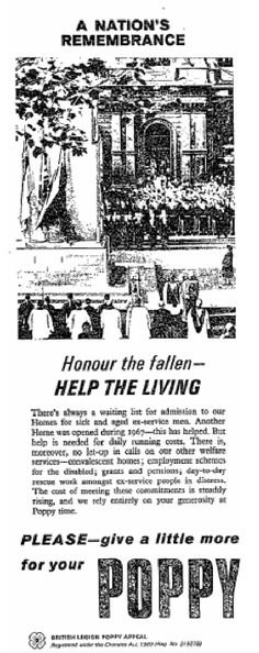 Royal British Legion poster - honour the fallen, help the living from 7 November, 1967 Retro Advertising, Ads, Royal British Legion, Remembrance Sunday, Political Party, Going Crazy, Memorial Day, Charity, Retro Vintage