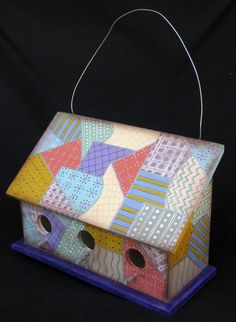 CRAZY QUILT BIRDHOUSE A Collectible Ready to Hang by KrugsStudio, $80.00