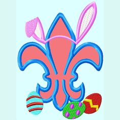 Easter Fleur de Lis with Bunny Ears Embroidery by LunaEmbroidery. , via Etsy.
