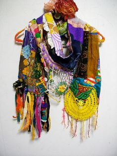 RESERVED - Patchwork Bohemian Gypsy Ethnic Silk Cotton Multi Color Scarf on Etsy, $92.40