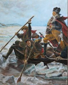 Washington crossing the Delaware by Mike Halem Oil on canvas size 16X20 Inches