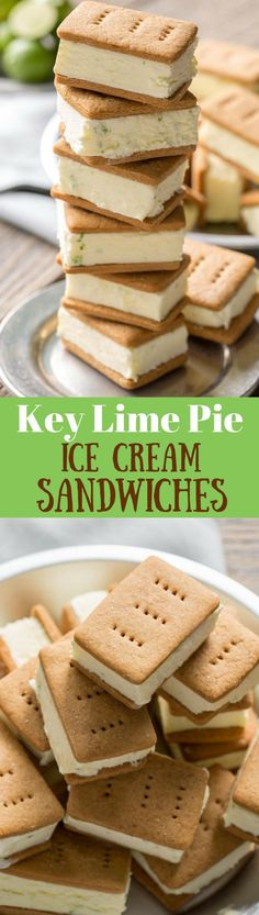 Key Lime Pie ~ Ice Cream Sandwiches - with homemade graham crackers and key lime gelato for a wonderful summer treat!  www.savingdessert.com