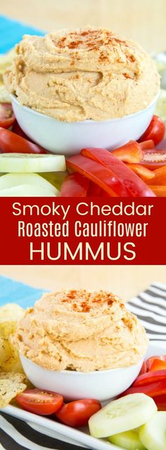 Smoky Cheddar Roasted Cauliflower Hummus recipe is a smooth and creamy healthy dip with hidden veggies, plus the cheesy flavor kids love. Serve with vegetables, chips, or pita for an appetizer or snack that's gluten free and vegetarian recipe. Healthy Dip Recipes, Healthy Dips, Appetizer Recipes, Low Carb Recipes, Vegetarian Recipes, Snack Recipes, Appetizers, Xmas Recipes, Healthy Eating