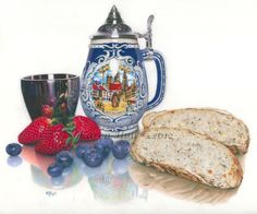 Beer, Bread and Berries - 9x12 inches, drawn with coloured pencils on drafting film
