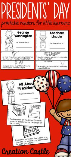 Three Presidents' Day printable readers - perfect for first grade students. Books included: George Washington, Abraham Lincoln, and All About Presidents. Pin now, view later!