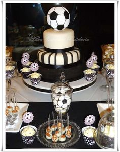 Cake and treats at a soccer birthday party! See more party planning ideas at CatchMyParty.com!