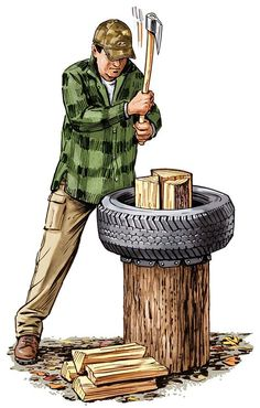 Outdoor Skills: Used Tires to Make a Better Chopping Block Camping Survival, Survival Tips, Survival Skills, Survival Stuff, Survival Quotes, Bushcraft Camping, Outdoor Projects, Wood Projects, Wood Chopping Block