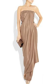 KAUFMANFRANCO Draped Brushed Silk-Satin Gown (amazing)