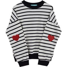 STRIPED HEART SWEATER (50 BRL) ❤ liked on Polyvore featuring tops, sweaters, clothing - ls tops, delete, stripe top, heart sweater, striped top, striped sweater and heart tops