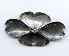 """Vtg Stuart NYE Large Dogwood Sterling Silver Brooch Pin 2-1/2""""L 6.5GR #NYE"""