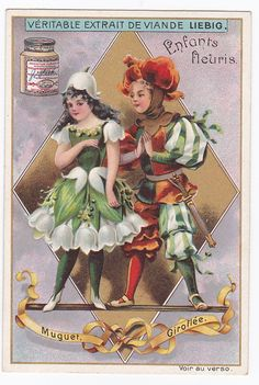 flower children - Liebig trade cards - san554bel issued in 1898 - Muguet
