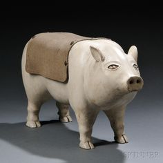 Folk Carved and Painted Pig Sculpture, Syracuse, New York, c. 1880