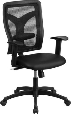 Flash Furniture WL-F062SYG-LEA-A-GG Galaxy High Back Designer Back Task Chair with Adjustable Height Arms and Padded Leather Seat
