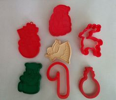 Lot of 7 Christmas Holiday Cookie Cutters Angel Reindeer Candy Cane Bear