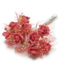 144pz. Decorazione roselline rosse con velo