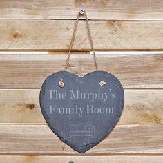 Family Room - Hanging Slate Love Heart