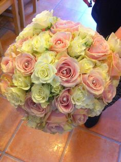 Avalanche, Sweet Avalanche and spray rose hand tied bouquet by Bows & Blooms