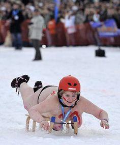 Bikini Snow Sledding ---- funny pictures hilarious jokes meme humor walmart fails