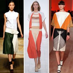 adore the color block skirt on the left, but it may be the fully-buttoned sleeveless that's swaying me