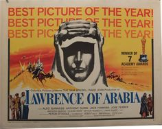 Lawrence of Arabia, US Half Sheet (22x28in),1963 Vintage Movie Poster - when I have a gazillion dollars, I will buy this for Pops ($175)