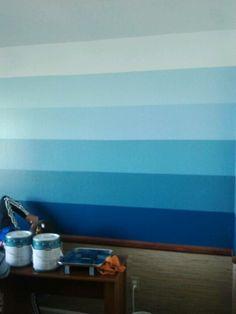 Blue Spray Paint Bedroom Wall Gradient Effect