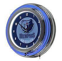 Memphis Grizzlies NBA Chrome Double Ring Neon Clock