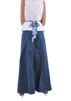 Modest Chic Long Denim Skirt # ET-0558