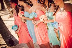 Coral and Tiffany blue wedding!