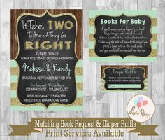 Vintage baby shower invitation, shabby chic shower, Rustic baby shower, It Take Two, Funny baby shower invitation