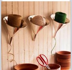 Instead of the funnels, the clay pots on a shelf. Drill small hole in shelf for string to come through! Faux arrangement on top, wahlah!!!