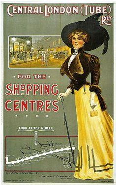 1908 Central London (Tube) railway travel advertisement Source