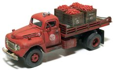 1/87 scale weathered Ford F-4 flatbed tomato hauler