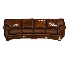 Western Canyon Ridge Curved Leather Sofa Revelation Coco Loco Western Furniture, Shabby Chic Furniture, Rustic Furniture, Vintage Furniture, Furniture Ideas, Southwestern Decorating, Western Bedrooms, Western Bedding, Decoration Home