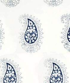 Les Indiennes Blue on White Paisley Fabric: Marie, in Indigo (other colors available)