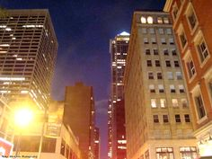 Market Street at Night: the building with the lighted top on the right is the BNY Mellon Center,