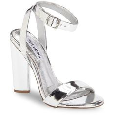 Women's Steve Madden Treasure Sandal ($100) ❤ liked on Polyvore featuring shoes, sandals, silver faux leather, real leather shoes, metallic leather sandals, ankle tie shoes, ankle tie sandals and steve madden sandals
