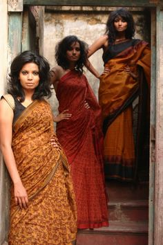 Hand Block Printed Maheswari Cotton Saree and a Handwoven Kanchivaram Cotton Saree -Kanishka's & Kora Kolkata