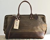 WANT. Waxed canvas & leather overnight/weekend bag ($130.00, @Etsy)