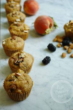 Peach Blackberry muffins (dairy-free, low-gluten with gluten-free option) #backtoschool