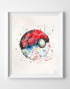 Pokeball Print Watercolor Pokemon Poster Animation by InkistPrints