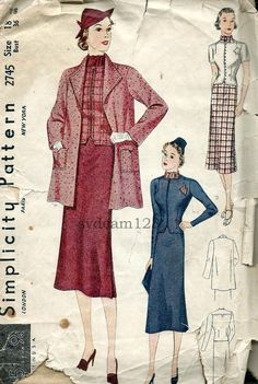 Simplicity 2745 © 1938 Vintage Suit...Slim Skirt...Zip or Buttoned front Jacket