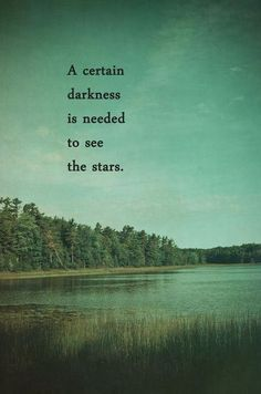 A certain darkness is needed to see the stars...